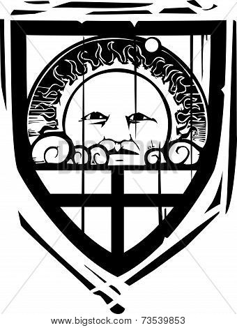 Heraldic Shield Sun Face