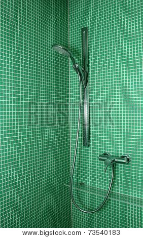 Shower On Green Mosaic Tile Wall