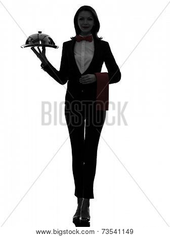 one  woman waiter butler serving dinner with catering dome in silhouette on white background