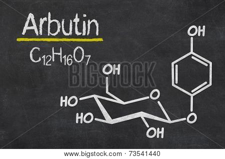 Blackboard with the chemical formula of Arbutin