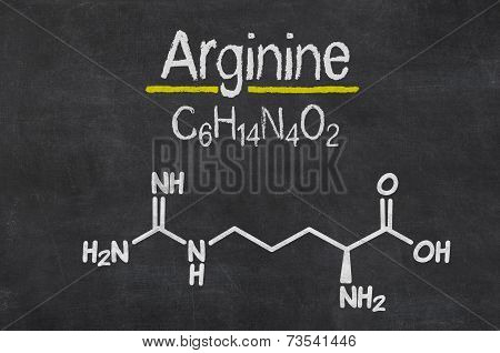 Blackboard with the chemical formula of Arginine