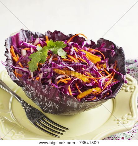 Coleslaw. Salad With Red Cabbage, Carrot, Red Onion And Beetroot.