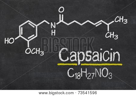 Blackboard with the chemical formula of Capsaicin