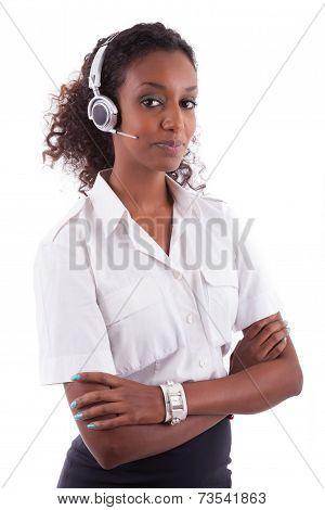 African American Helpdesk Worker Holding Headset - Black People