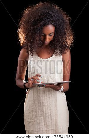 Young Beautiful African American Woman Using A Tactile Tablet Pc - Black People