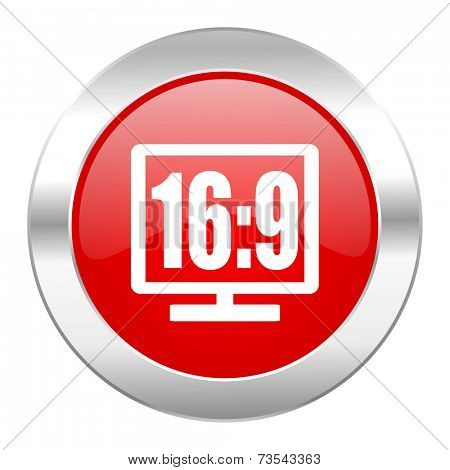 16 9 display red circle chrome web icon isolated