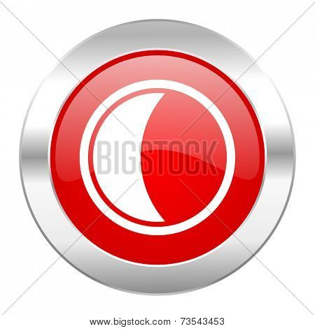 moon red circle chrome web icon isolated