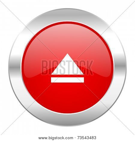 eject red circle chrome web icon isolated
