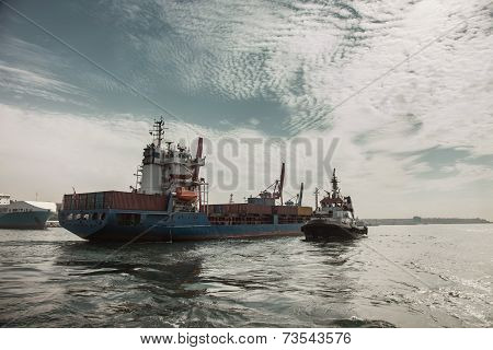 Tugboat is moving on Sea of Marmara