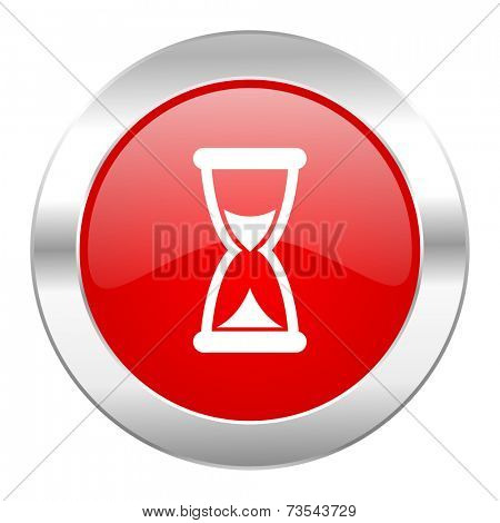 time red circle chrome web icon isolated
