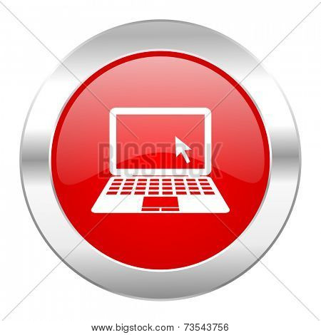 computer red circle chrome web icon isolated