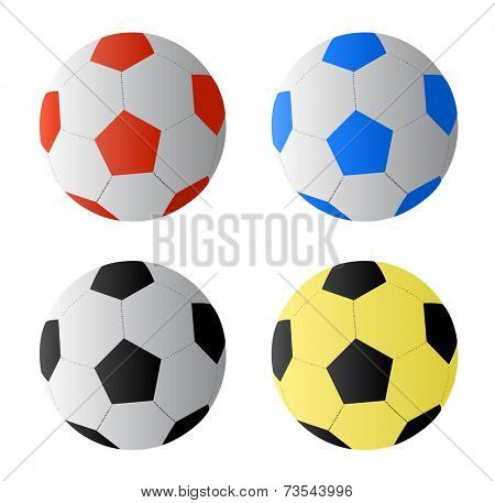 Four color football or soccer  balls, vector