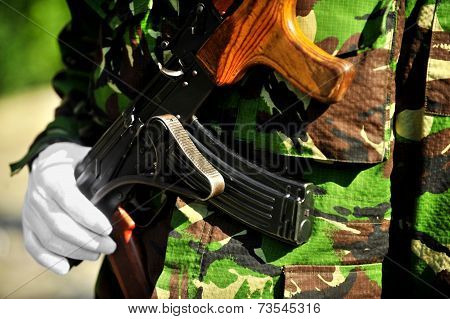 Soldier Hand On Akm Rifle