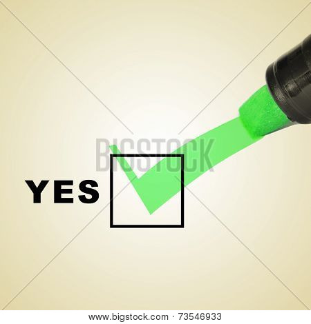 a check mark drawn with a green marker pen on a checbox with the word yes