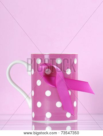 Pink Ribbon Charity For Womens Breast Cancer Awareness Fund Raising With Pink Ribbon Symbol On A Pin