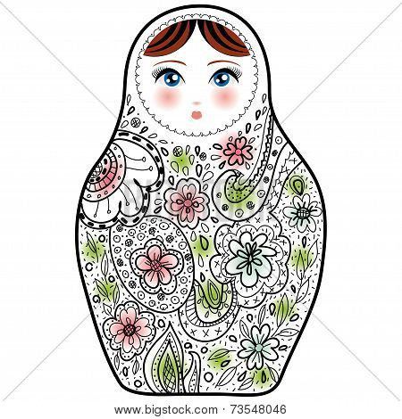 Russian Doll Matrioshka Babushka Sketch On White Background.