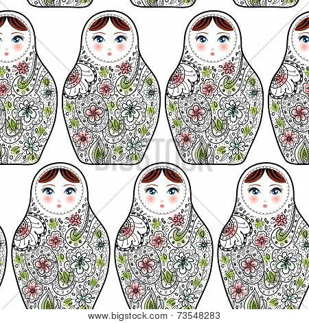 Pattern With The Russian Dolls Matrioshka Babushka On Sketch White Background.