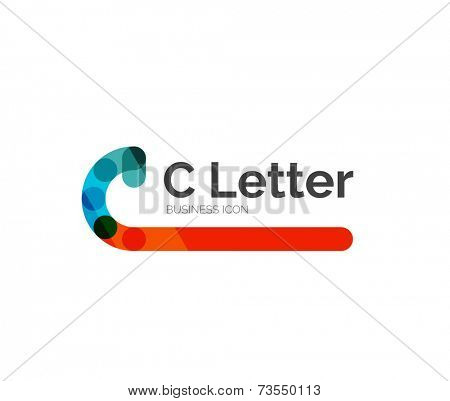 C letter logo, minimal line design, business icon