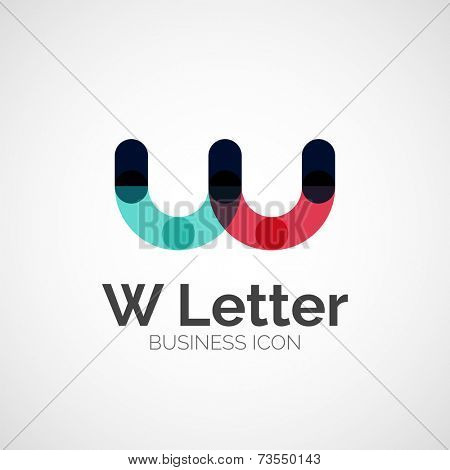 W letter logo, minimal line design, business icon
