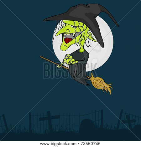 Horrible laughing witch flying on horn broom infront of moon on blue background.