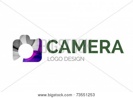 Abstract camera logo design made of color pieces - various geometric shapes