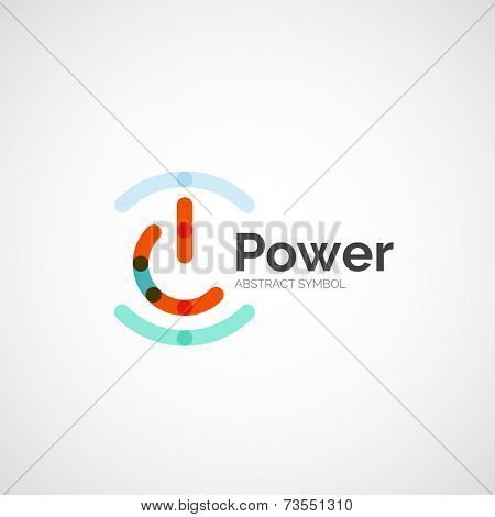 Power button logo design, minimalistic line art