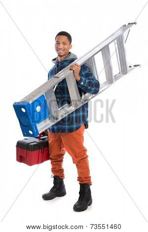 Smiling Young African American  Worker Holding Toolbox and Ladder Isolated on White Background