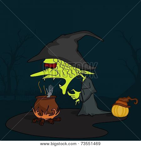 Horrible witch wearing hat with a pumpkin and pot on fire in dangerous night view.
