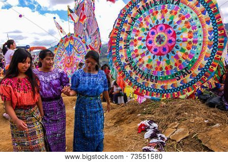 Traditionally Dressed Mayan Girls & Giant Kites, All Saints' Day, Guatemala