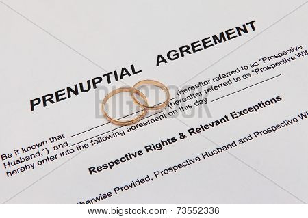 Prenuptial Agreement with wedding rings