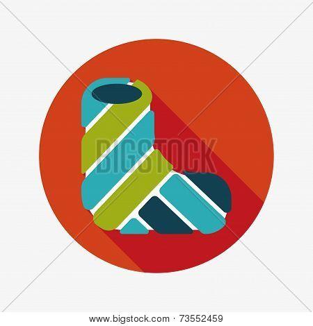 Broken Leg Plaster Flat Icon With Long Shadow