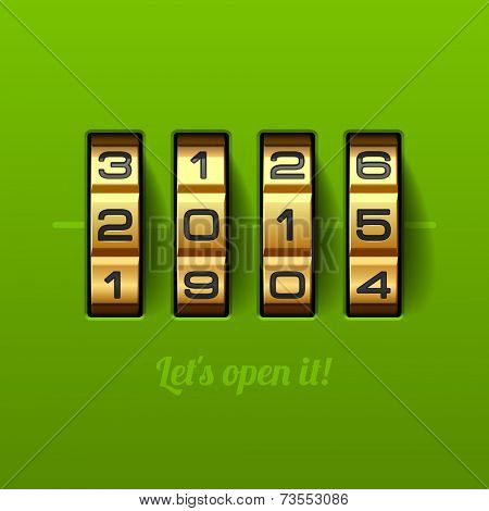 Let`s open 2015 year card. Combination lock. Vector.