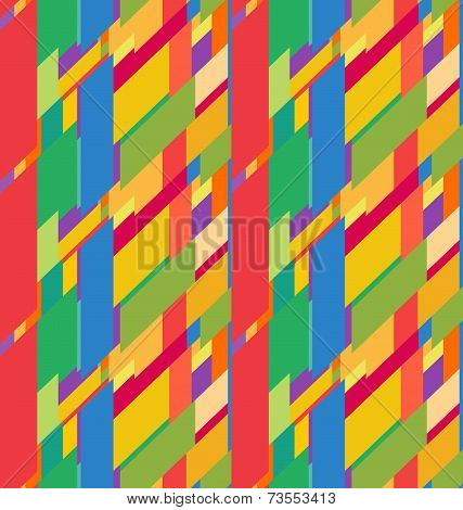 Flat colorful seamless pattern with skewed rectangles