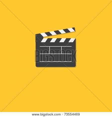 Open Movie Clapper Board Template Icon. Flat Design Style.