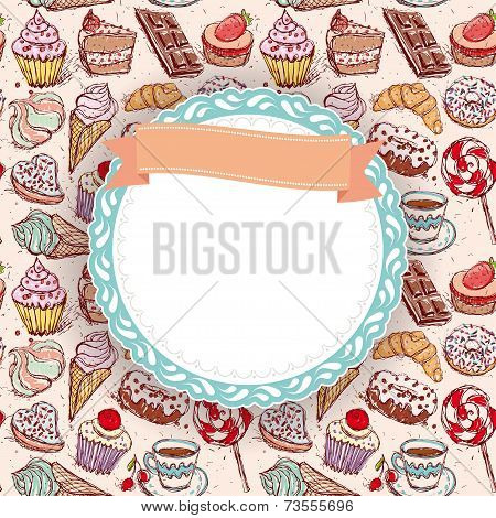 Hand Drawn Confectionery Seamless Pattern Croissant Cupcake Candy Marshmallow Ice Cream Cake Donut A