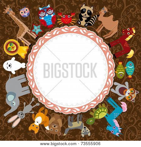Set Of Funny Cartoon Animals Character On A Brown Background.