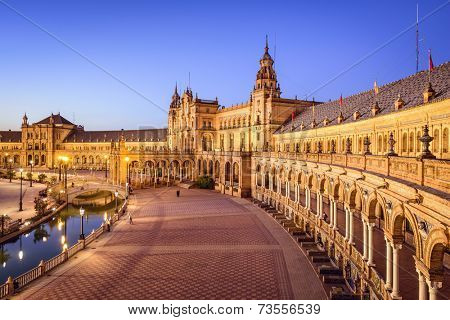 Seville, Spain at Spanish Square (Plaza de Espa?a).