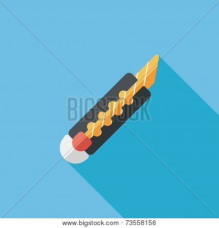 Utility Knife Flat Icon With Long Shadow,eps10