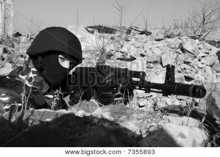 Soldier Targeting With Automatic Ak47 Rifle