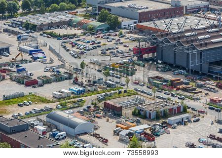 Aerial Cityscape Of An Industrial Site Of The Hague, The Netherlands
