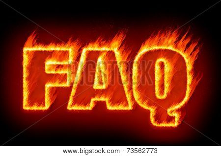 An image of the word faq in flames