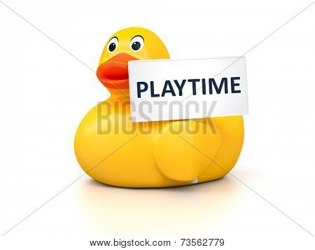 An image of a nice rubber duck with text playtime