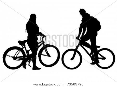 Sport man and women whit bike on white background