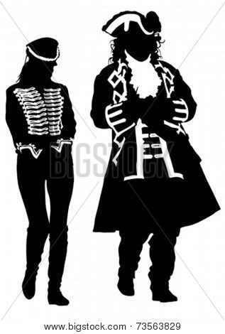 Man nd women in an old suit on white background