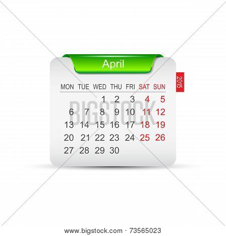 Calendar April 2015. Vector illustration
