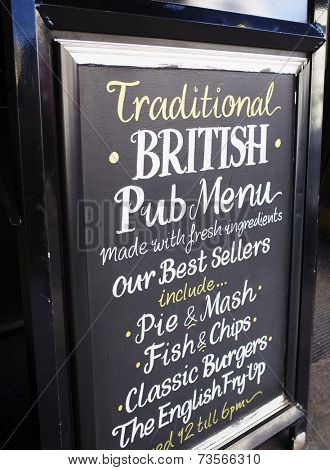 LONDON, UK - APRIL 16, 2014: Traditional British Pub Menu. Advertising in front of a pub.