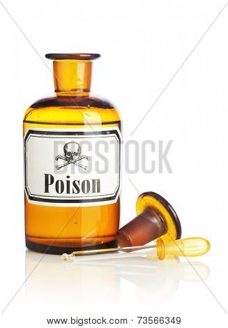 Pharmacy Bottle with Poison Label and Eyedropper on white background