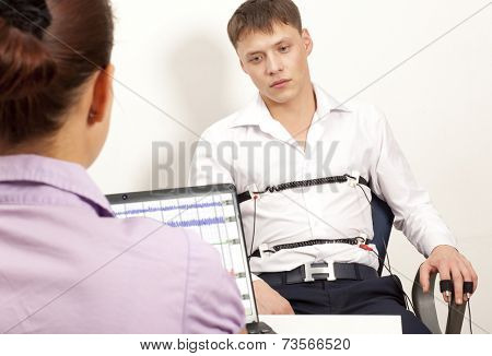 A man passes a lie detector test