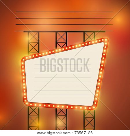 Retro Cinema Theater Bright Bulb Sign
