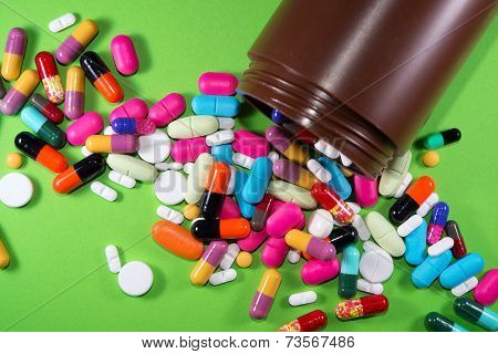 Close Up Of Many Colorful Pills (medicines)